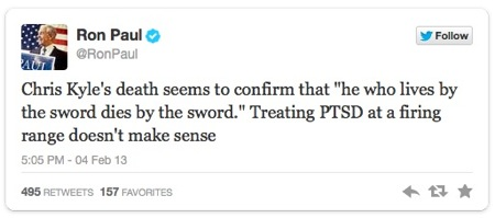 Ron Paul statement about Chris Kyle via Twitter